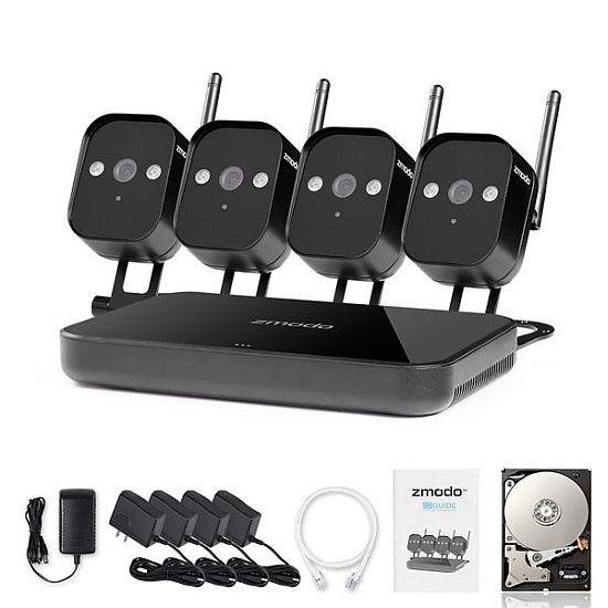 ZMODO 720P Wifi Mini NVR kit 4CH kamerový systém, 1TB HDD, recorder + 4x IP kamera
