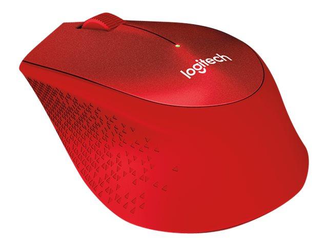 Logitech myš Wireless M330 Silent Plus, optická, bezdrátová, 3 tlačítka, červená