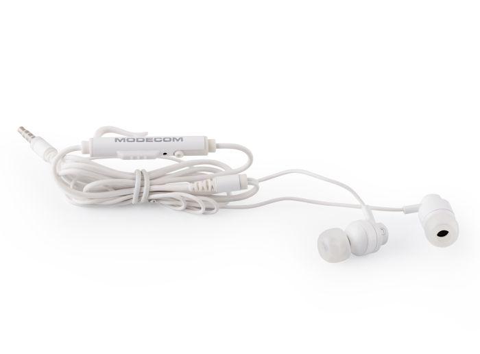 Modecom MC-140 sluchátka do uší s mikrofonem, špunty, 1,2m kabel, 3,5mm jack, bílá