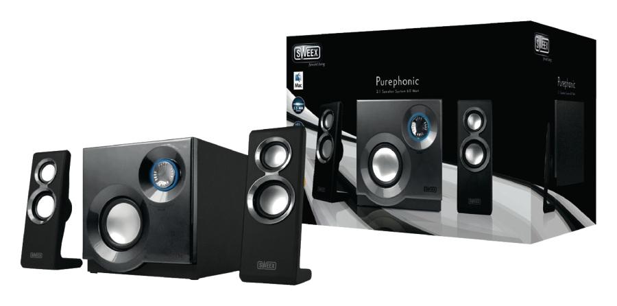 Sweex reproduktory 2.1, 60W Purephonic Black/ Silver