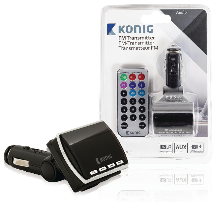 Konig FM transmitter black with remote