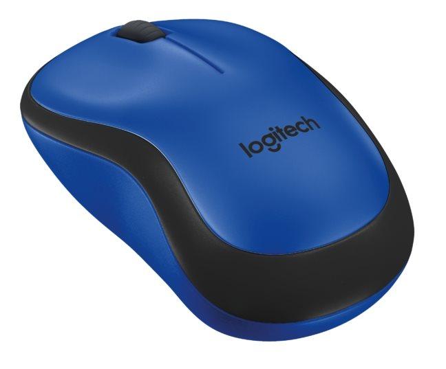 Logitech myš Wireless M220 Silent, optická, bezdrátová, 3 tlačítka, modrá