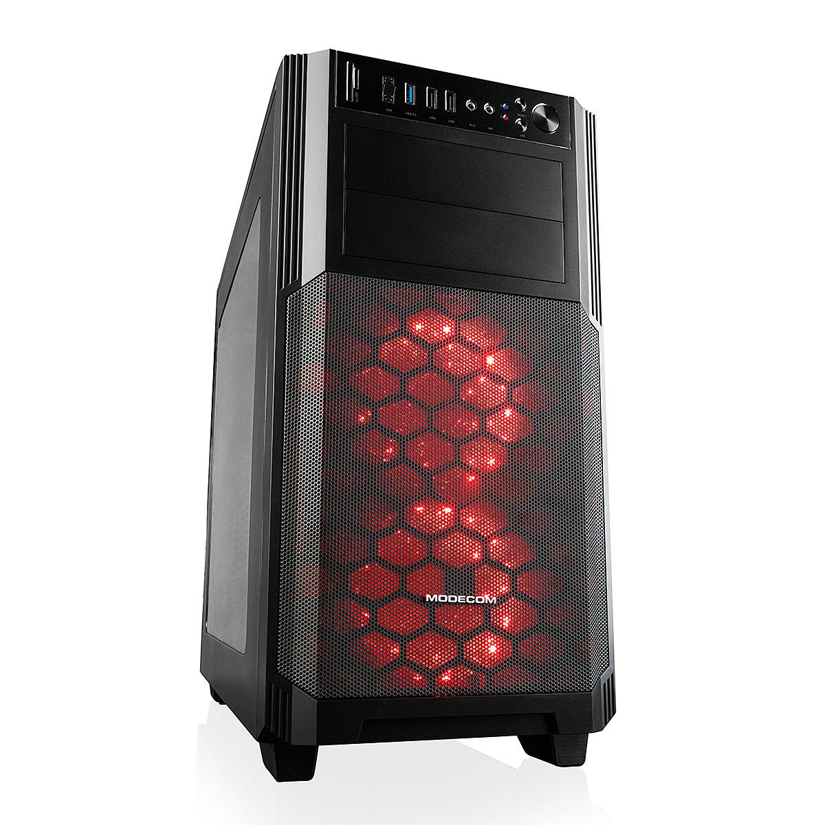 Modecom PC skříň MINI REA, 1x USB 3.0, 1x USB 2.0, HD audio, čtečka SD/TF karet, 7 barev podsvícení, černá, bez zdroje