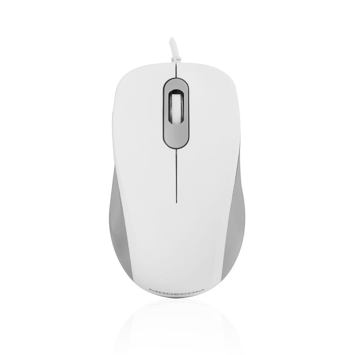 Modecom MC-M10S drátová optická myš, 3 tlačítka, 1000 DPI, USB, tichá tlačítka, bílá