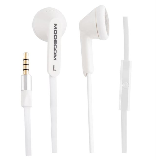 Modecom MC-131 sluchátka do ucha s mikrofonem, pecky, 1,2m kabel, 3,5mm jack, bílá