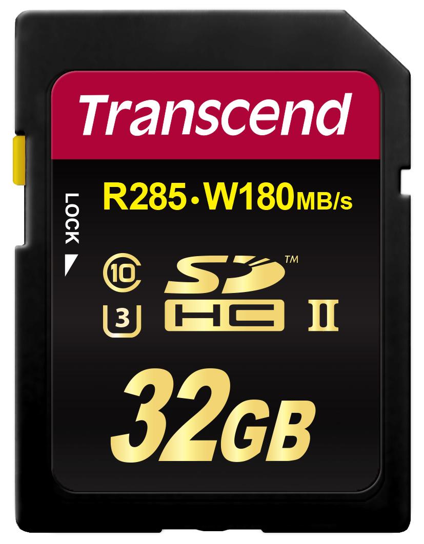Transcend paměťová karta SDHC 32GB, Class3 UHS-II, (R285, W180MB/s)