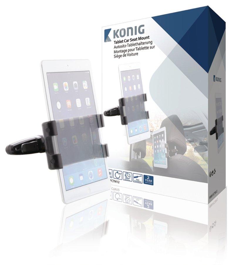 Konig univerzální držák na tablet na opěrku hlavy v autě, 360°, 140–240 mm