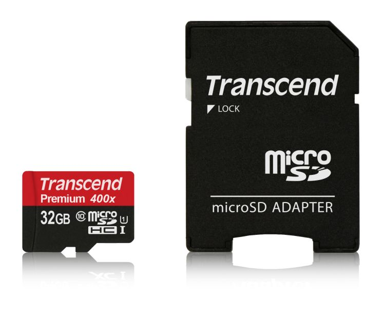 Transcend 32GB microSDHC UHS-I 400x Premium (Class 10) paměťová karta (s adaptérem)