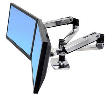 "ERGOTRONLX SIDE BY SIDE DUAL ARM, Polished Aluminum, stojan stolní pro 2LCD max 24"""