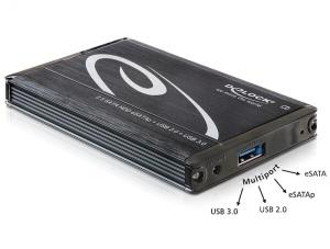 Delock 2.5 externí box SATA HDD > Multiport USB 3.0 + eSATAp