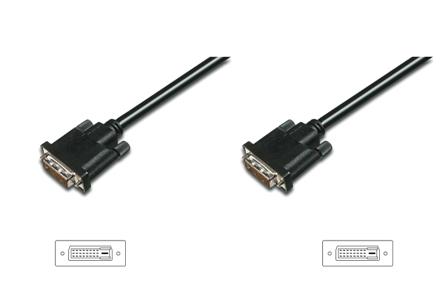 Digitus připojovací kabel DVI-D(24+1), Stíněný, DualLink, Černý, 0,5m