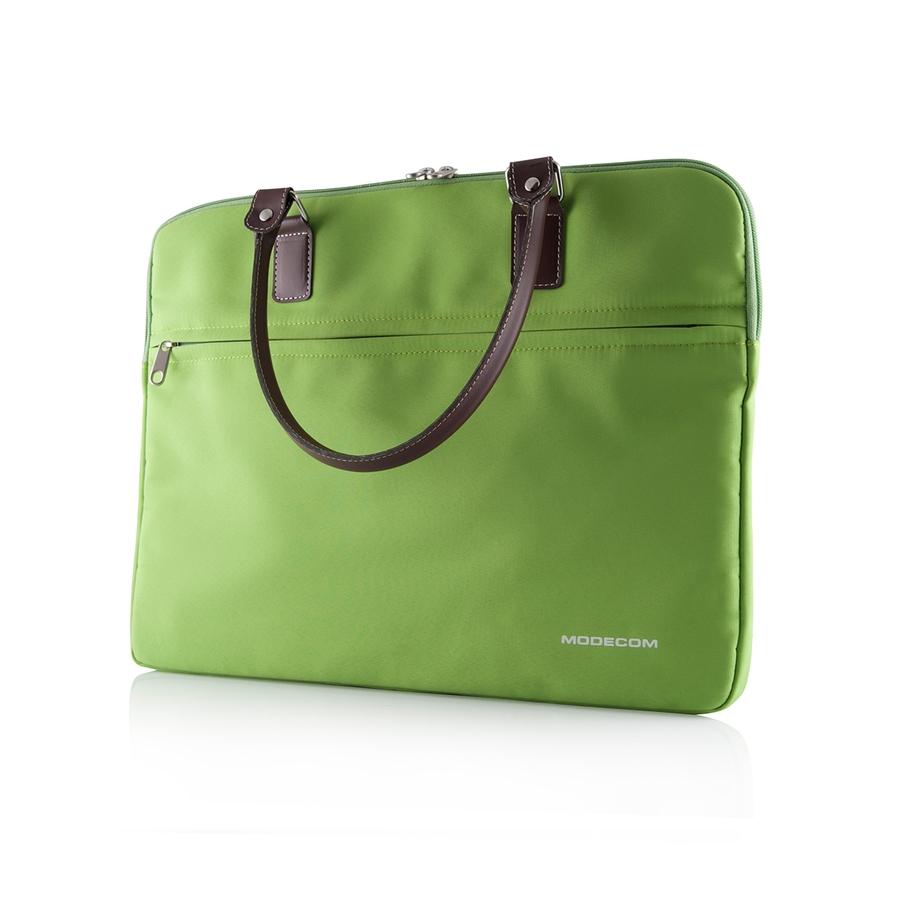 """Modecom taška CHARLTON na notebooky do velikosti 15,6"""" zelená, hnědá rukojeť, dámská"""