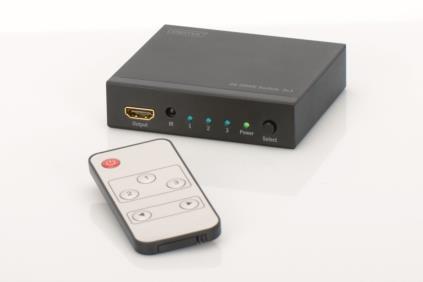 Digitus 4K HDMI přepínač 3x1,, Podporuje 4K2K, 3D video formáty, vč dálkového ovládání, černý