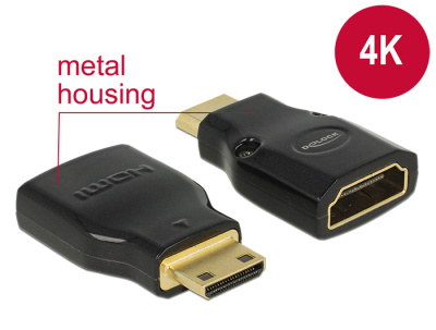 Delock adapter HDMI Mini-C(M)->HDMI(F) High Speed HDMI with Ethernet 4k