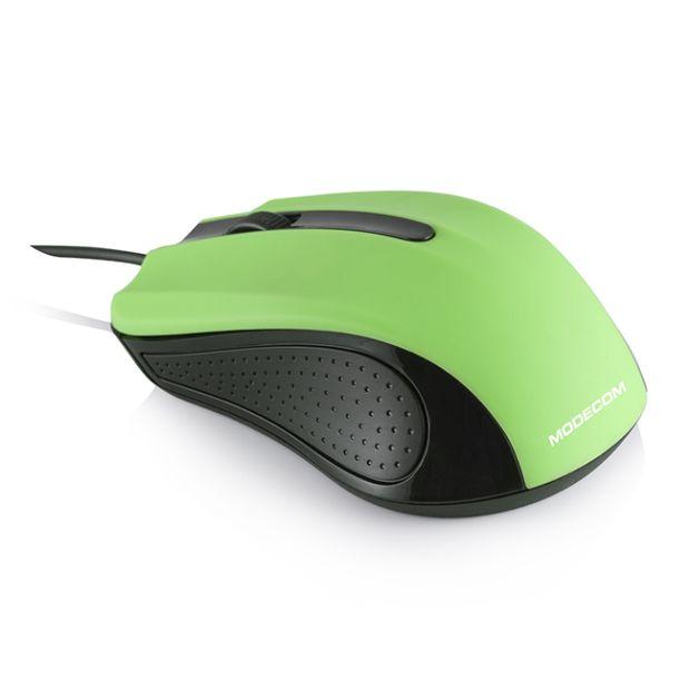 Modecom MC-M9 drátová optická myš, 3 tlačítka, 1000 DPI, USB, černá/zelená