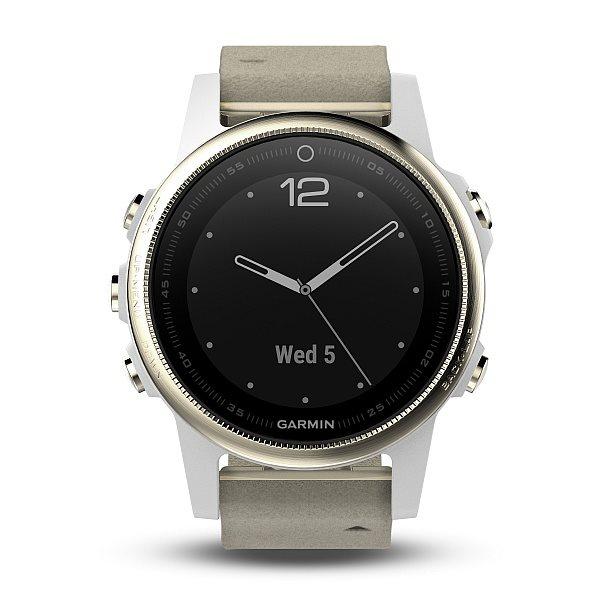 Garmin GPS sportovní hodinky fenix5x Sapphire Champagne Optic, semišový řemínek