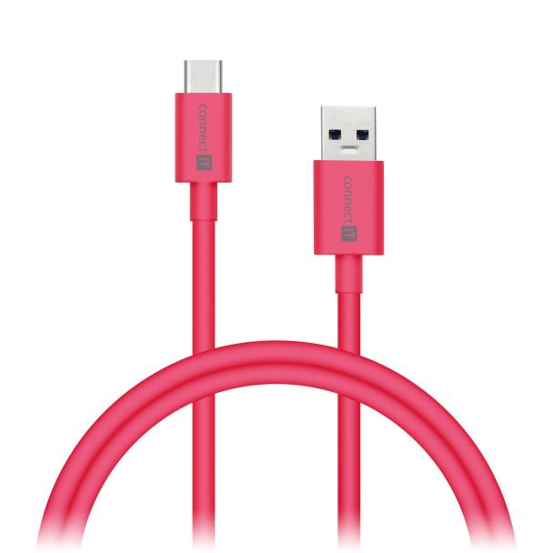 CONNECT IT Wirez COLORZ kabel USB-C (Type C) - USB-A, 1 m, ultra rychlý tok 3A, růžový