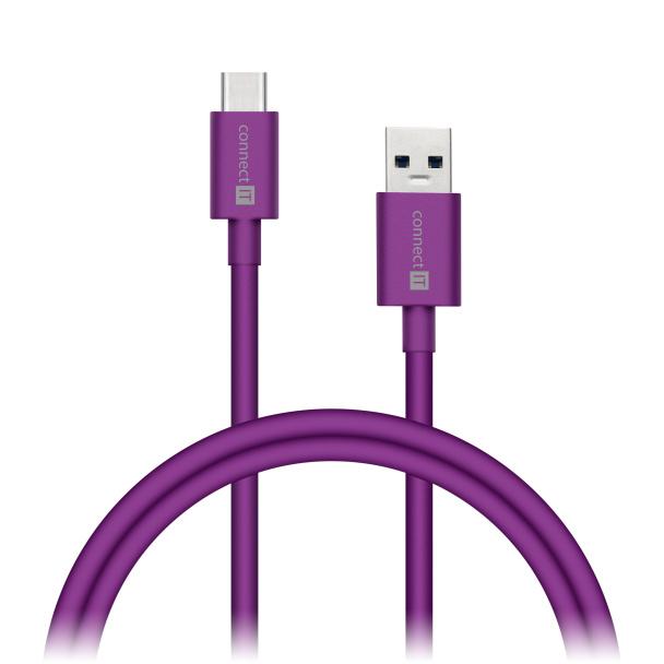 CONNECT IT Wirez COLORZ kabel USB-C (Type C) - USB-A, 1 m, ultra rychlý tok 3A, fialový