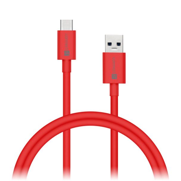 CONNECT IT Wirez COLORZ kabel USB-C (Type C) - USB-A, 1 m, ultra rychlý tok 3A, červený