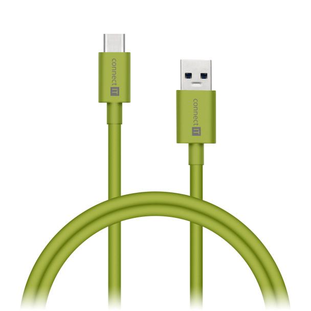 CONNECT IT Wirez COLORZ kabel USB-C (Type C) - USB-A, 1 m, ultra rychlý tok 3A, zelený