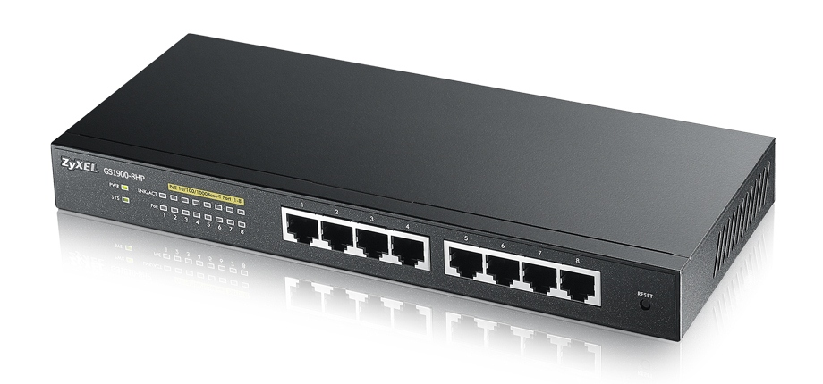 Zyxel GS1900-8HP, 8-port Desktop Gigabit Web Smart switch: 8x Gigabit metal, IPv6, 802.3az (Green), PoE 802.3at(High Pow