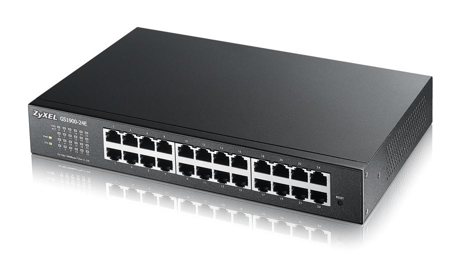 ZyXEL 24xGb IPv6 fanless smart switch GS1900-24E