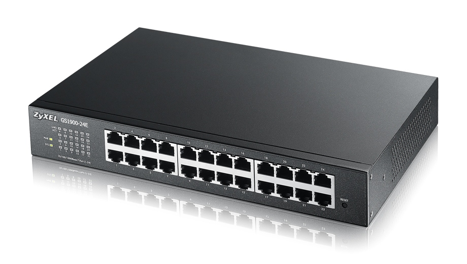 ZyXEL GS1900-24E, 24-port Desktop Gigabit Web Smart switch: 24x Gigabit metal, IPv6, 802.3az (Green), Easy set up wizard