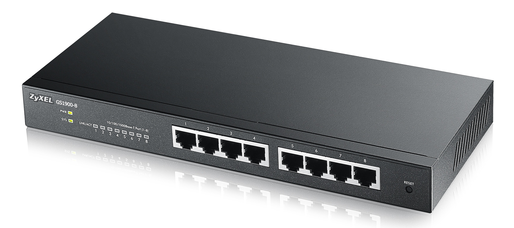 Zyxel GS1900-8, 8-port Desktop Gigabit Web Smart switch: 8x Gigabit metal, IPv6, 802.3az (Green), Easy set up wizard, fa