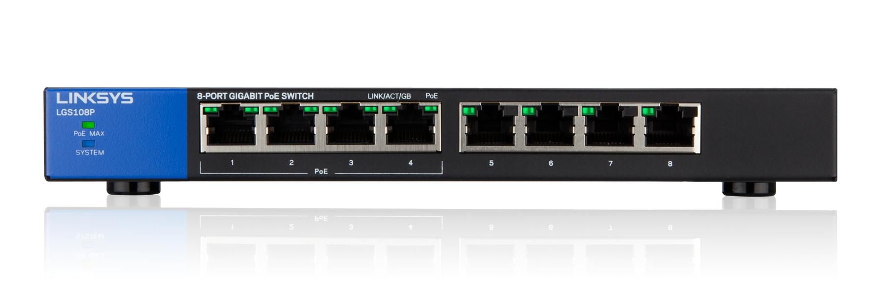Linksys SMB switch LGS108P 8-port Gigabit s POE
