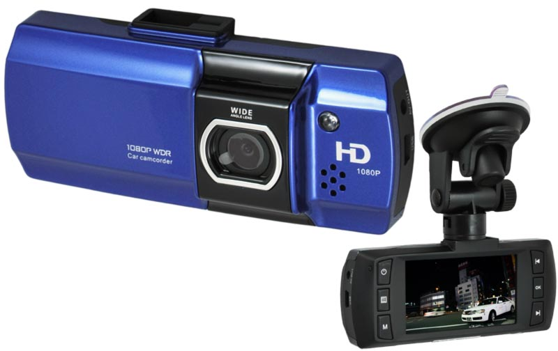 CEL-TEC E07 - palubní kamera do auta 1080p, microSD/SDHC, WDR, modrá
