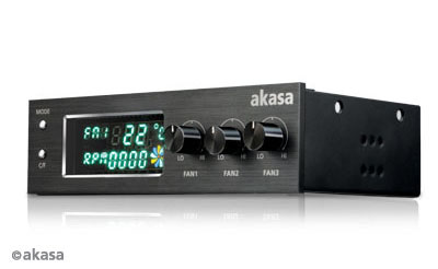 AKASA kontrolní panel 3 ventilátorů + VFD display