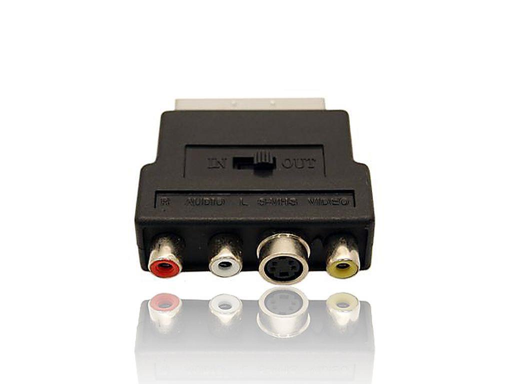 Gembird redukce SCART - 3 CINCH (RCA) + 1 S-Video (přepínatelná IN/OUT)