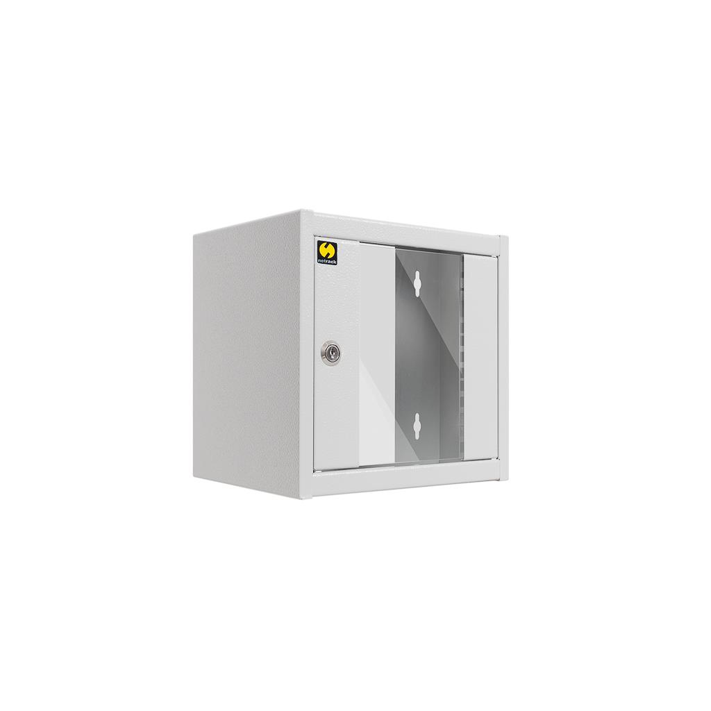 Závěsný datový rovaděč 10'' Netrack 4.5U/300 mm, barva popelavá, skleněné dveře