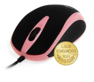 Media-Tech PLANO optická myš, 800 cpi, USB, růžovo-černá