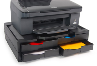 A4 Organizer/Stand for printers, MFP's and monitors (black, 4 drawers)