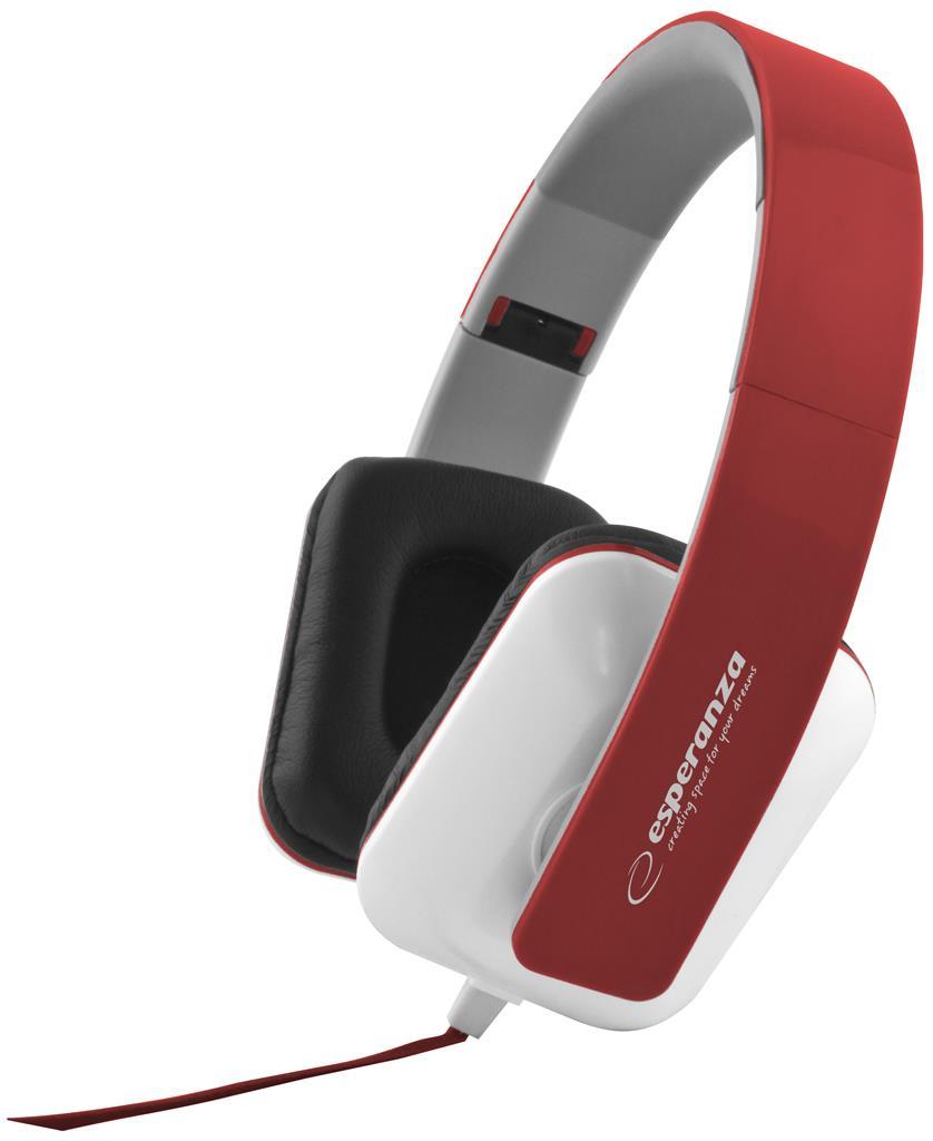 Esperanza EH137R JAZZ Stereo sluchátka, skládací, ovl. hlasitosti, 3m, červená