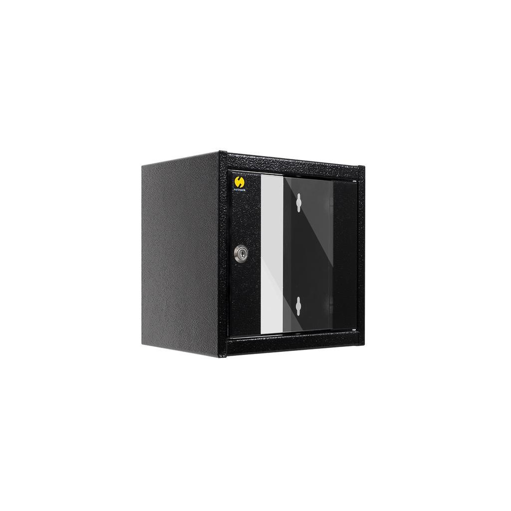 Závěsný datový rozvaděč 10'' Netrack 4.5U/300 mm, barva grafit, skleněné dveře