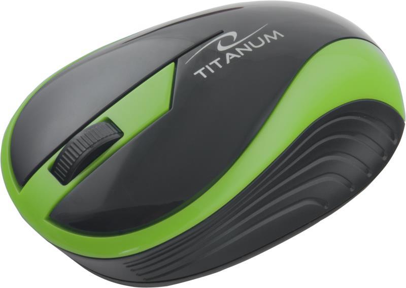 Titanum TM113G BUTTERFLY bezdrátová optická myš, 1000 DPI, 2.4GHz, 3D, zelená