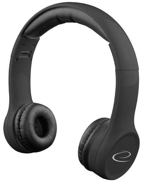 Esperanza EH140K FUNK Stereo sluchátka, skládací, ovl. hlasitosti, 3m, černá