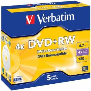 Verbatim DVD+RW [ jewel case 5 | 4.7GB | 4x ]