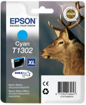 Inkoust Epson T1302 cyan | Stylus SX525WD/BX305F/BX320FW/BX625FWD