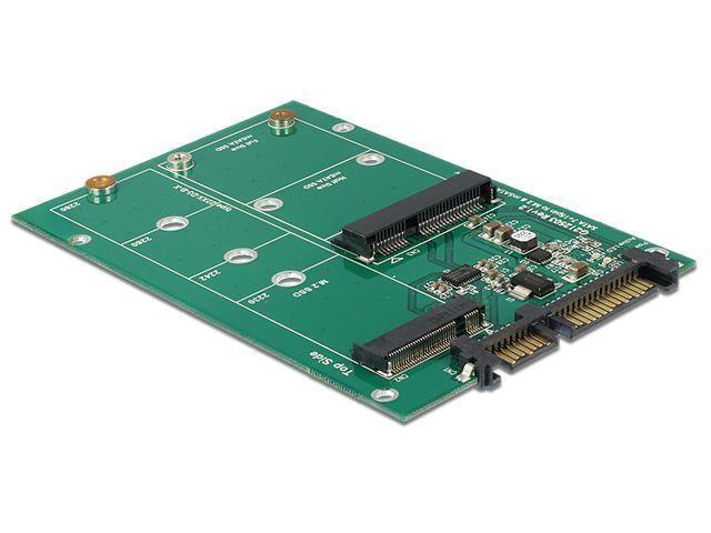Delock konvertor SATA 22 Pin > 1 x M.2 NGFF + 1 x mSATA