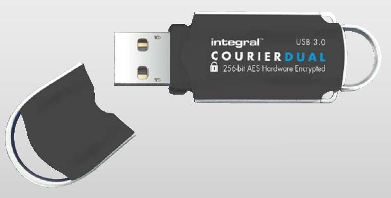 INTEGRAL Courier Dual 16GB USB 3.0 flashdisk, AES 256 bit šifrování, FIPS 197