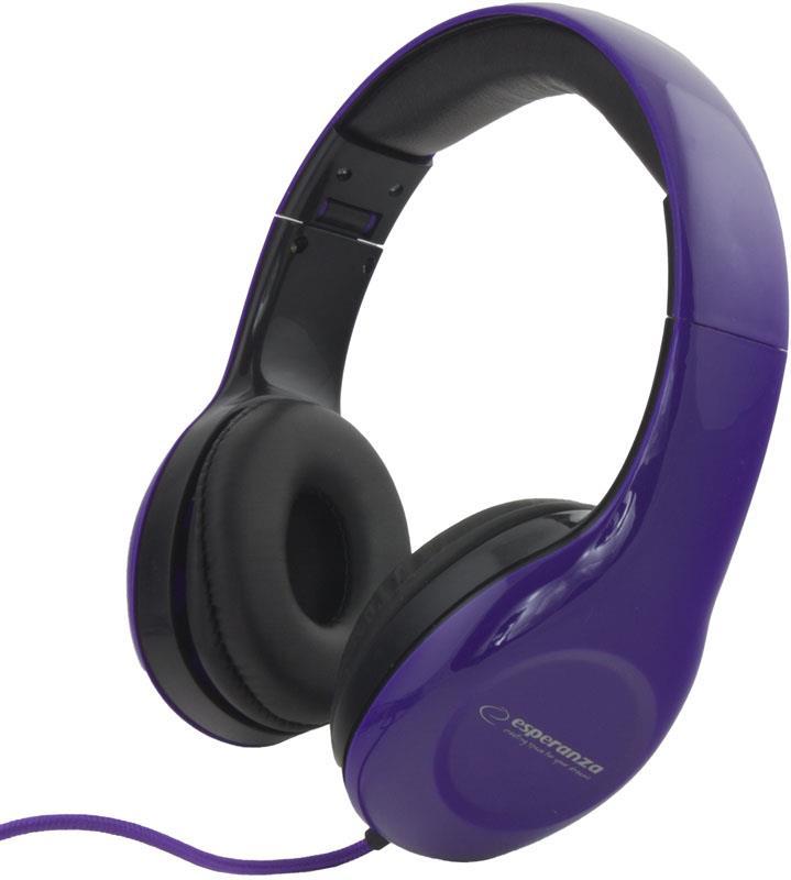 Esperanza EH138V SOUL Stereo sluchátka, skládací, ovl. hlasitosti, 3m, modrá