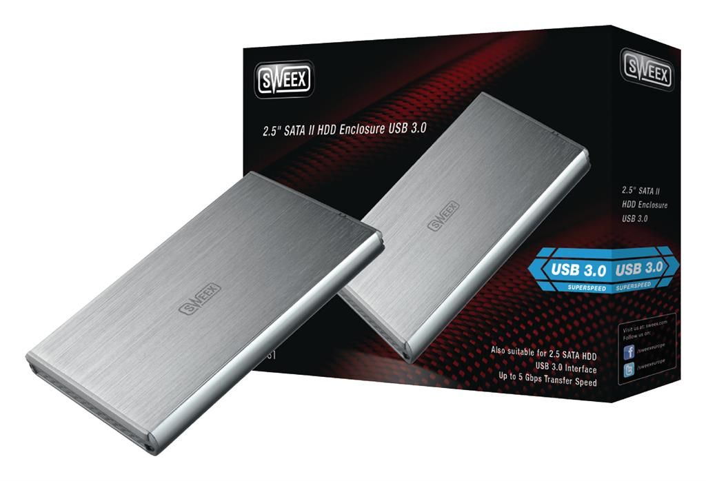 Externí box Sweex 2.5''; SATA II; USB 3.0