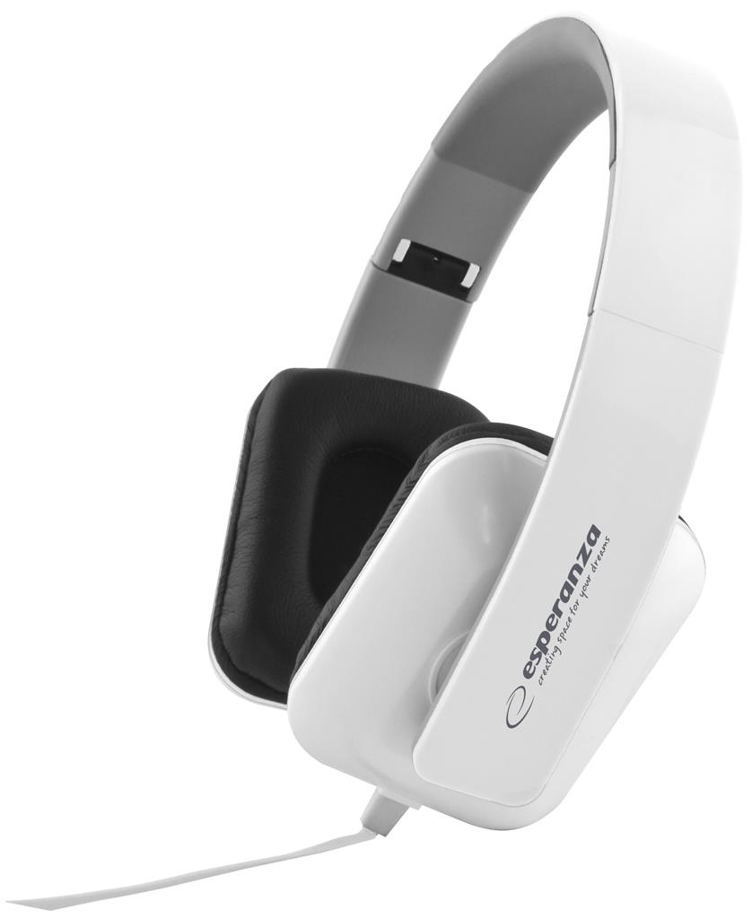 Esperanza EH137W JAZZ Stereo sluchátka, skládací, ovl. hlasitosti, 3m, bílá