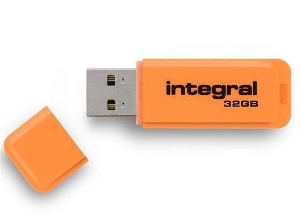 INTEGRAL Neon 32GB USB 2.0 flashdisk, oranžový