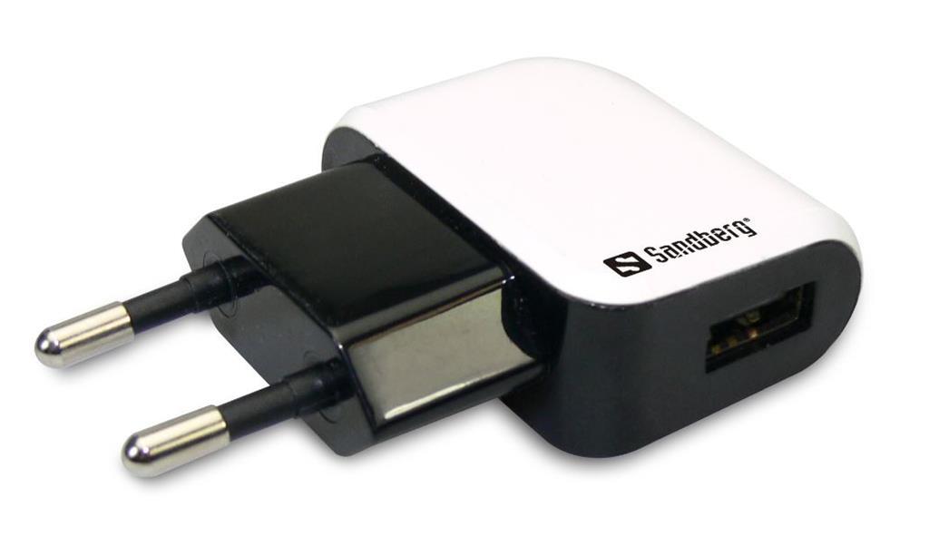 Sandberg Mini USB AC napájecí adaptér, 1000mA, EU standard, bílo-černý