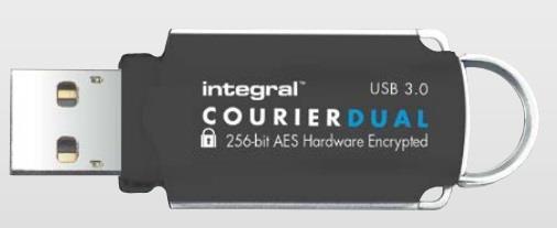 INTEGRAL Courier Dual 64GB USB 3.0 flashdisk, FIPS 197 (čte./záp. až 145/45MB/s)