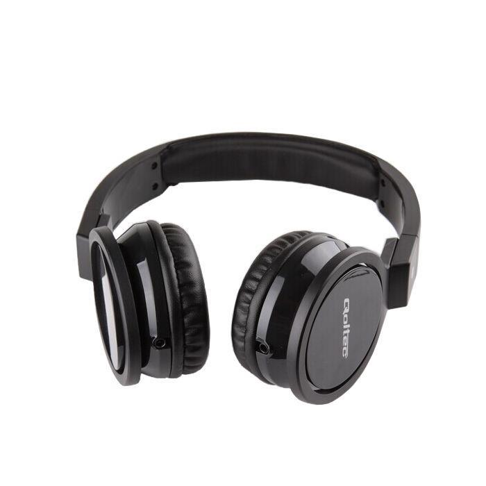 Qoltec Stereo sluchátka s mikrofonem, 1.2m, černá